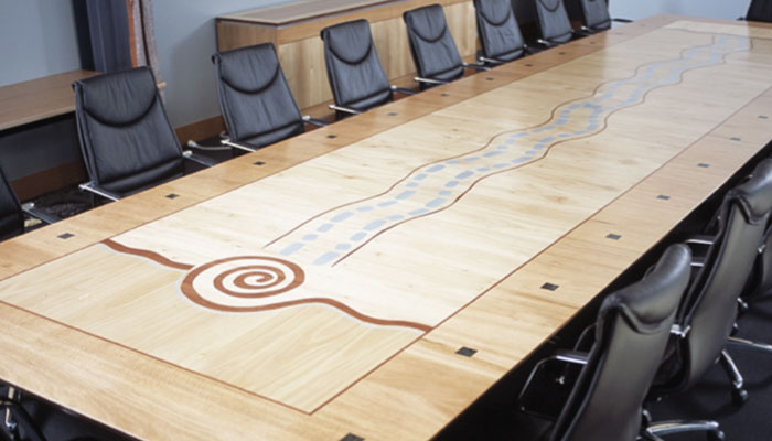 Boardroom table made from Australian veneers with aboriginal motif - photo provided by Glen Holst