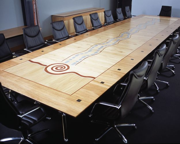 Boardroom table made from Australian veneers with aboriginal motif
